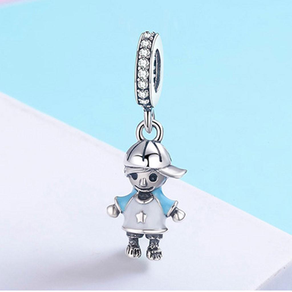 Conta pingente de prata 925 compatível com pandora (menino)