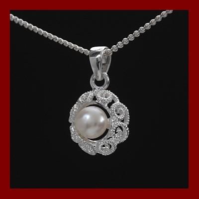Pendente / Pingente prata 925 c/ filigrama e pérola natural