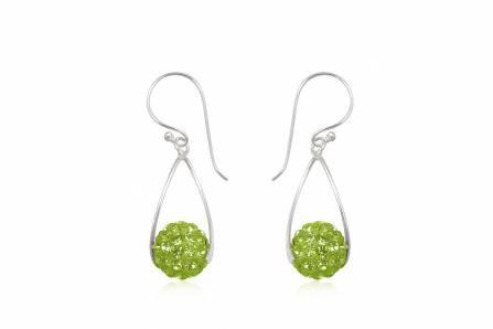 Brincos prata 925 c/ cristais preciosa verde