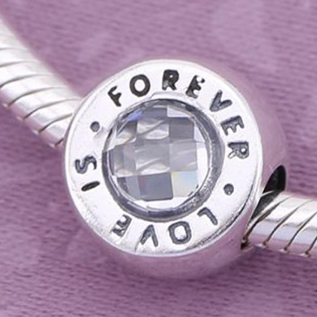 Conta de prata 925 compatível com pandora (Love is forever)