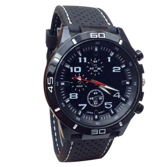 Relógio com bracelete preta e linha branca