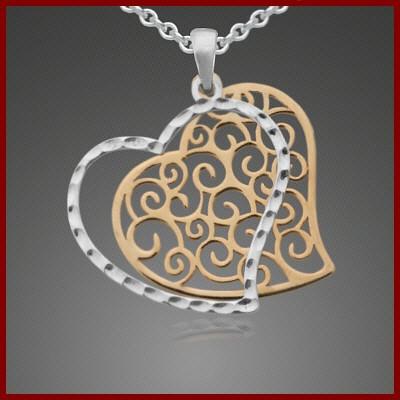 Pendente / Pingente de prata 925 (coração bicolor)