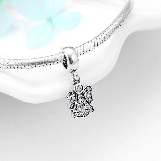 Pingente de prata 925 compatível com pandora (anjo)