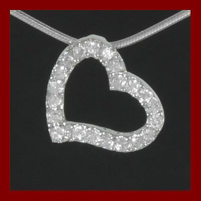 Pendente / Pingente de prata 925 com pedras zircão (coração)