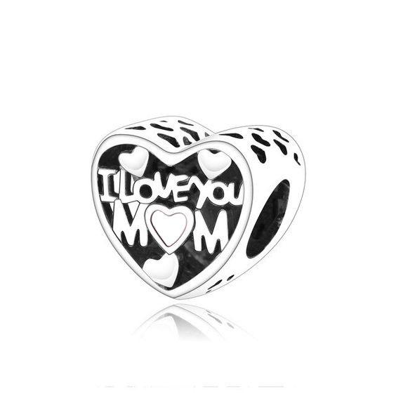 Conta de prata 925 compatível com pandora (I Love Mom)