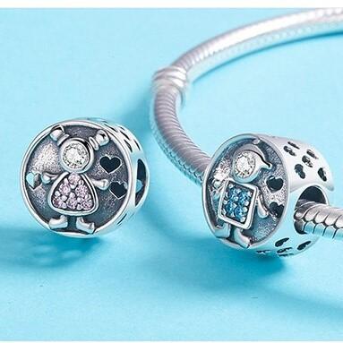 Conta de prata 925 compatível com pandora (menina e menino)