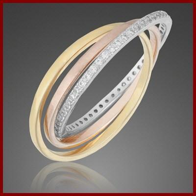 Anel / aliança de prata 925 entrelaçada tricolor com pedras zircão