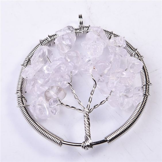 Pingente / pendente árvore da vida com pedras semi-preciosas