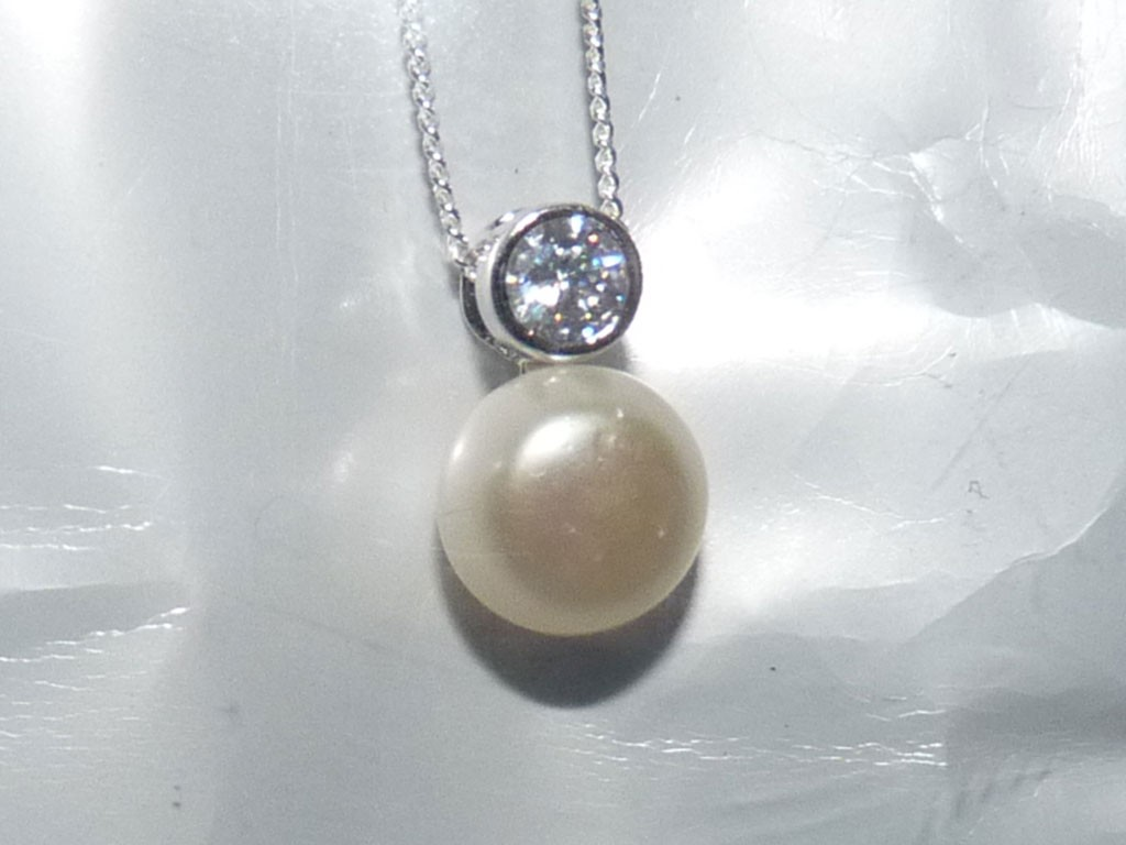 Pendente / Pingente prata 925 c/ pedra Zircônia cúbica+pérola
