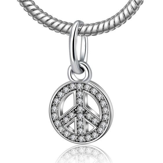 Conta pingente de prata 925 compatível com pandora (Paz)