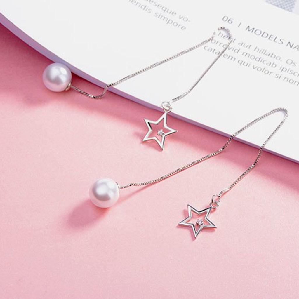 Brincos compridos de prata 925 com pérola e estrela