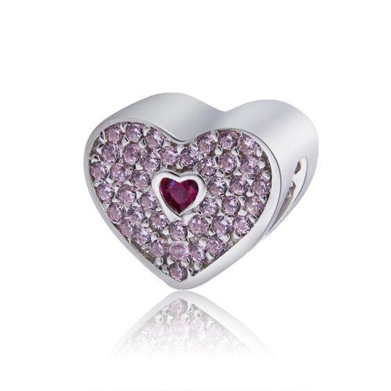 Conta de prata 925 compatível com pandora (coração - cristais rosa)
