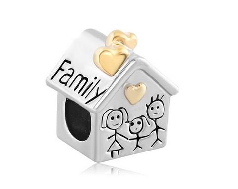 Conta de prata 925 compatível com pandora (casa - família)