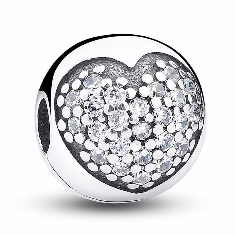 Conta de prata 925 compatível com pandora (coração) - clip