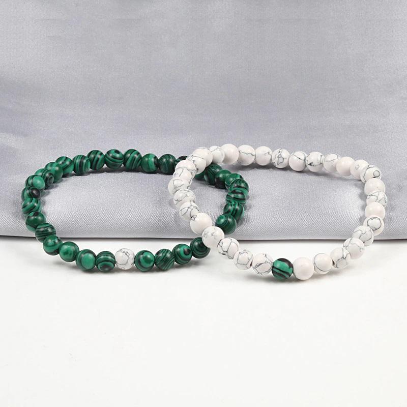 Pulseira de pedra natural (verde/branco) - 6mm