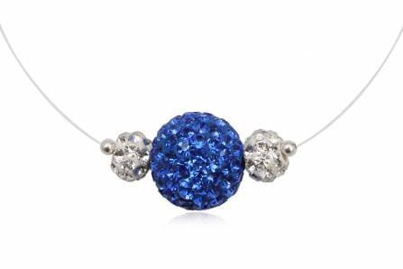 Fio c/ pendente de prata 925 e cristais preciosa brancos e azuis safira