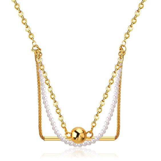 Colar / fio de aço inoxidável cor ouro com pérolas