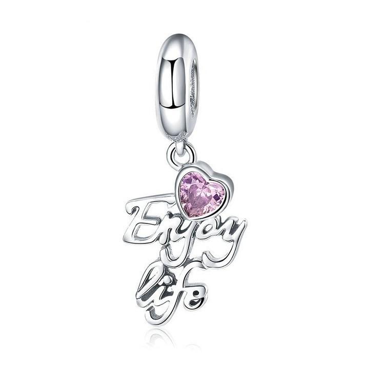 Conta pingente de prata 925 compatível com pandora (Enjoy life)