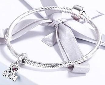 Conta pingente de prata 925 compatível com pandora (I Love Mom)
