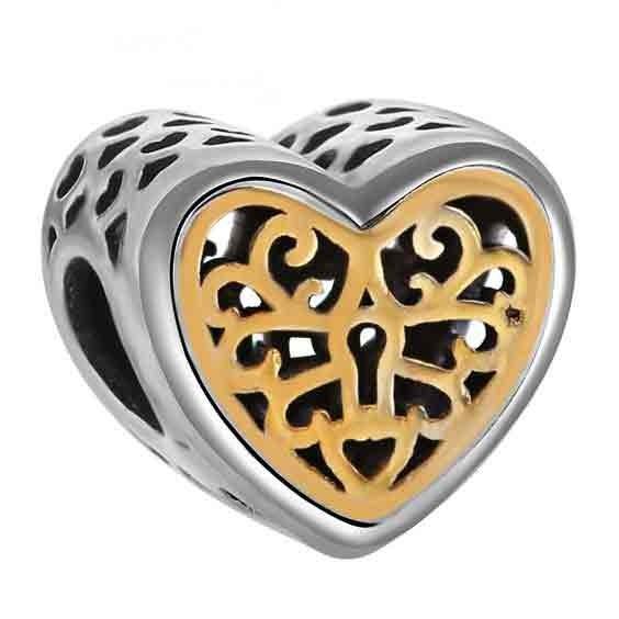 Conta de prata 925 compatível com pandora (corações fechados)