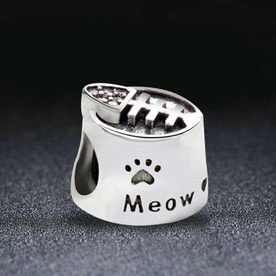 Conta de prata 925 compatível com pandora (Meow) - gato
