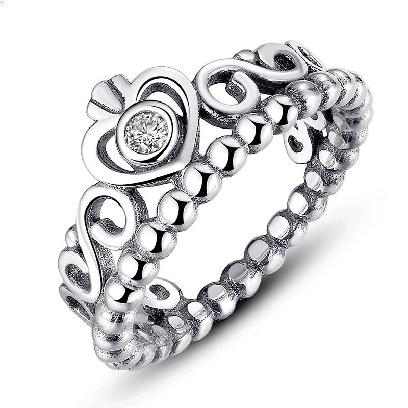 Anel coroa de prata 925 compatível com pandora