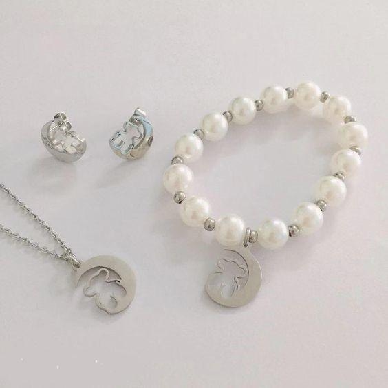 Conj. pingente / pendente + pulseira + brincos de aço inoxidável (lua e urso)