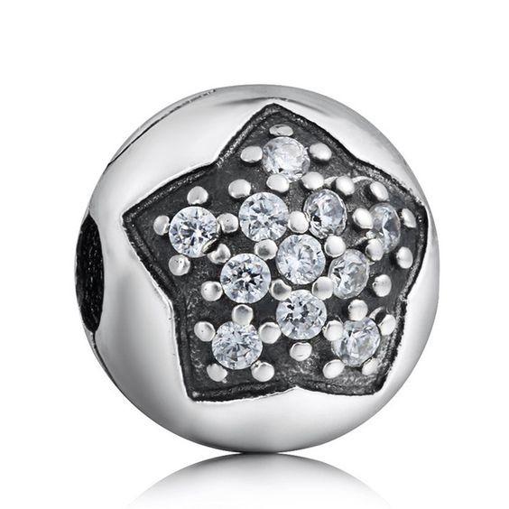 Conta de prata 925 compatível com pandora (estrela brilhante) - clip