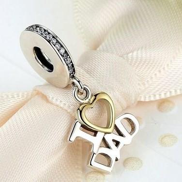 Conta pingente de prata 925 compatível com pandora (I love Dad)