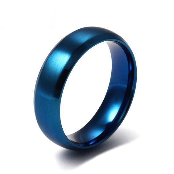 Aliança / anel de aço inoxidável cor azul
