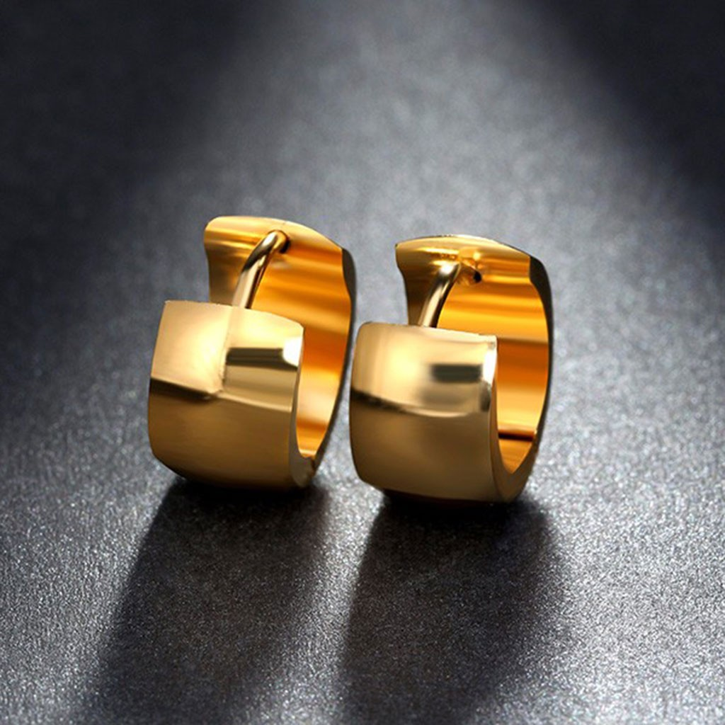 Brincos de aço inoxidável cor ouro