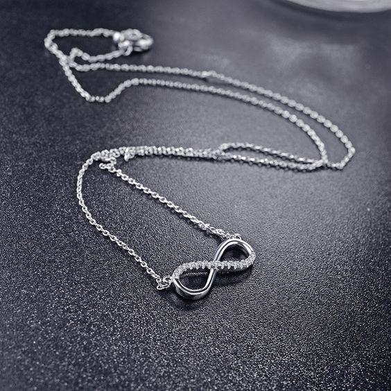 Fio de prata 925 com pendente - infinito e pedras zircão