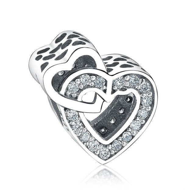 Conta de prata 925 compatível com pandora (corações entrelaçados)