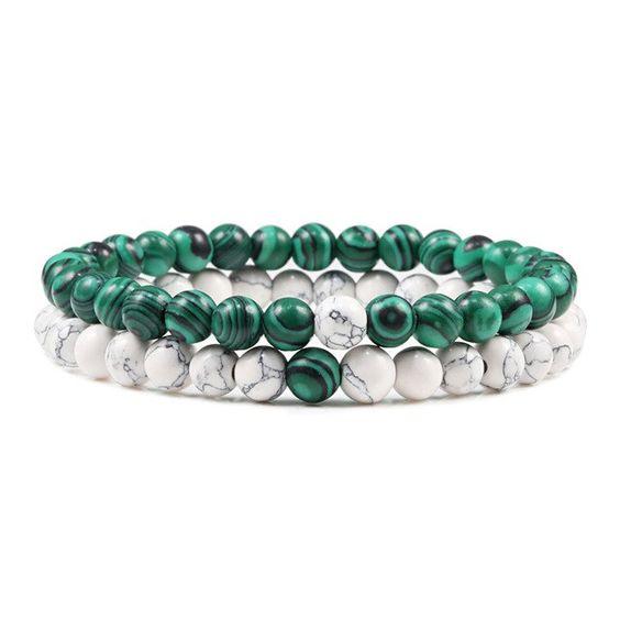 Pulseira de pedra natural (verde/branco)