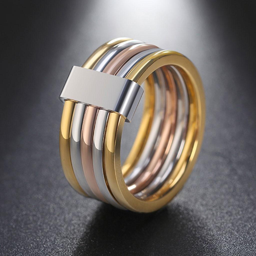 Aliança / anel de aço inoxidável tricolor