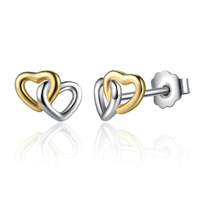 Brincos de prata 925 - dois corações (bicolor)