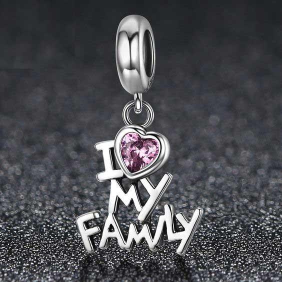 Conta pingente de prata 925 compatível com pandora (I love my family)