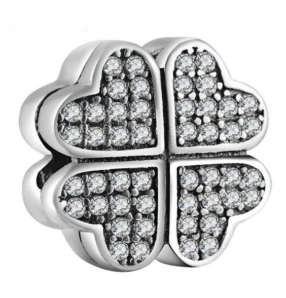 Conta de prata 925 compatível com pandora (clip pétalas de amor)