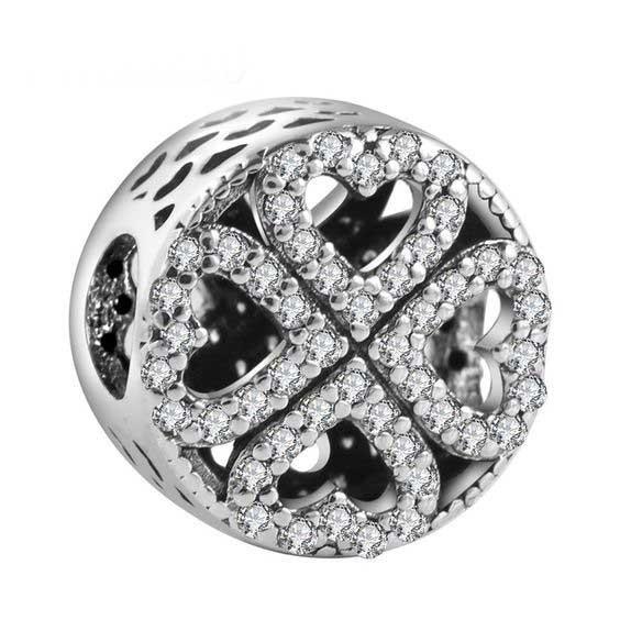 Conta de prata 925 compatível com pandora (pétalas de amor)