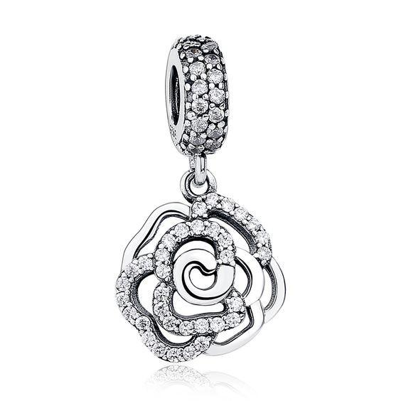 Conta pingente de prata 925 compatível com pandora (rosa brilhante)