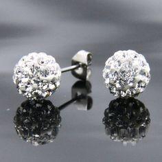 Brincos de aço inoxidável com cristais