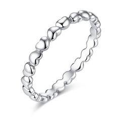 Anel / aliança de prata 925 com pedras zircão compatível com pandora (corações)