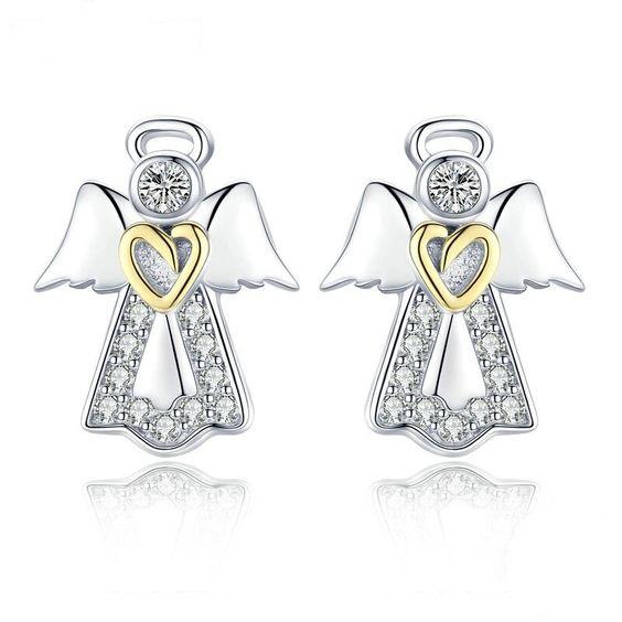 Brincos de prata 925 compatível com pandora (anjo)