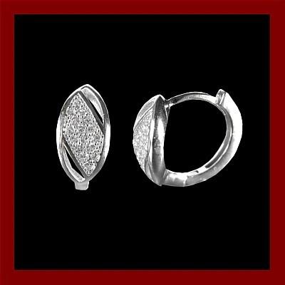 Argolas / Brincos de prata 925 com pedras zircão (oval)