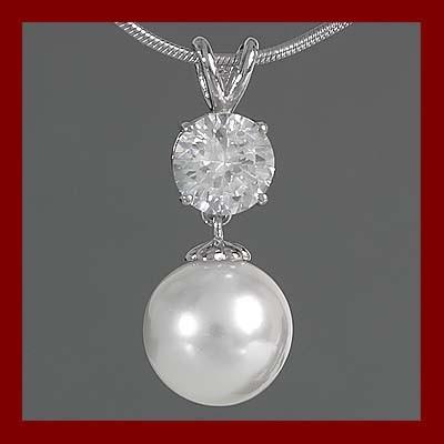 Pendente / Pingente prata 925 com pérola e pedra zircão