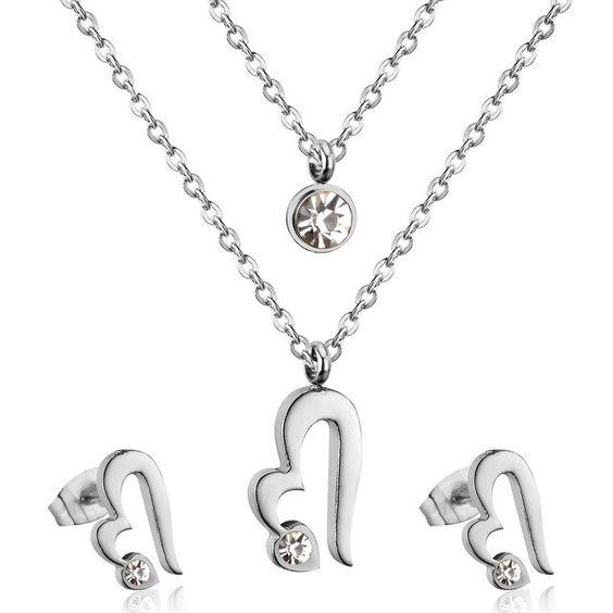 Conjunto Fio duplo pingente / pendente + brincos de aço inoxidável (coração)