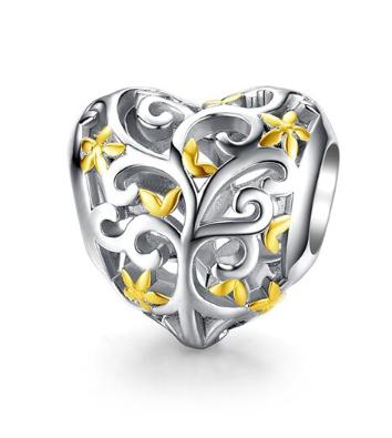 Conta de prata 925 compatível com pandora (flores douradas)