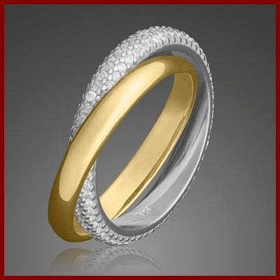 Anel de prata 925 banhado a ouro com pedras zircão entrelaçado - bicolor
