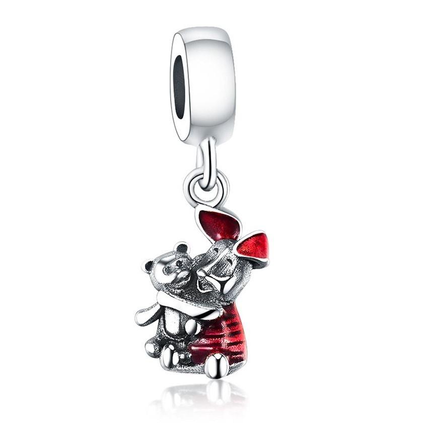 Conta pingente de prata 925 compatível com pandora (Piglet)