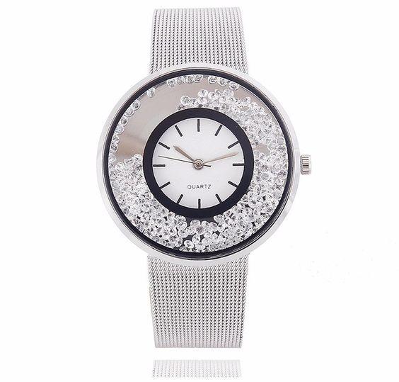 Relógio com bracelete de malha em aço inoxidável e cristais
